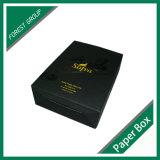Caixa de embalagem ondulada preta do vinho de Matt com logotipo do ouro
