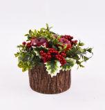 Искусственние цветки Xmas с ягодой в баке цемента для украшения праздника