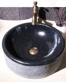 Lavabo de colada negro del granito del cuarto de baño de Shanxi