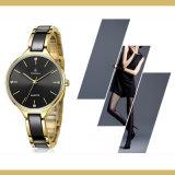 Frauen-keramische Luxuxarmbanduhren mit glänzenden Diamanten 71034