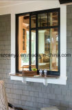 La ventana de desplazamiento con la aleación de aluminio, dobla el vidrio esmaltado del color del café