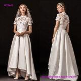 Neue moderne Art-Illusion-Juwel-Schatz-Ausschnitt-Kurzschluss-Hülsen verschönerten schwer romantisch eine Zeile Hochzeits-Kleid mit Schleife-Serie
