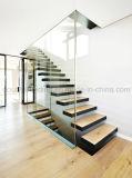 Escalera de cristal recta modificada para requisitos particulares interior/escaleras de madera flotantes de la seguridad