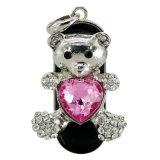 다이아몬드 심혼 곰 USB Pendrive 보석 USB 지팡이