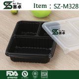 Envase de alimento plástico rectangular claro con el compartimiento 3