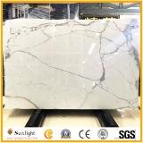 Lajes de mármore brancas italianas Polished de Calacatta para telhas, partes superiores de tabela