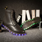LED piscando Light up Woman Boots 2017 Winter, Womens Leather Boots