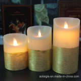 Kerzen des Goldmetallische Wachs-LED mit beweglicher Flamme