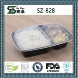 2 Fach-wegwerfbarer Verpacken- der Lebensmittelplastikbehälter