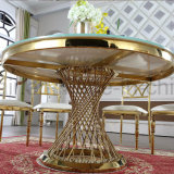 Restaurant Steel Dining Table Set Tempered Glass for Wedding