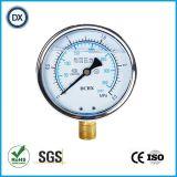 001 Calibre de pression de tube Bourdon rempli d'huile liquide avec acier inoxydable