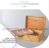 Umweltfreundlicher MDF karbonisierter Bambusmahagonizigarre-Geschenk-Kasten