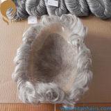 老人のためのインドのRemyの毛80%Grey20%Whiteの毛のToupee