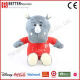 Rhinocéros de peluche de jouet bourré par fournisseur de la Chine en tissu