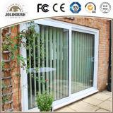 Porte coulissante des prix d'usine de certificat de la CE de la fibre de verre UPVC de bâti en plastique bon marché de profil avec le gril à l'intérieur