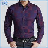 Camisa ocasional dos homens magros novos do ajuste do algodão do projeto