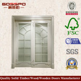 Modèle en bois blanc de porte de cuisine en verre Tempered de bâti (GSP3-035)