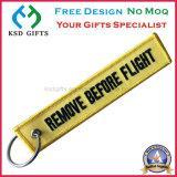 Gewebe-Schlüsselketten-kundenspezifische Stickerei Keychains entfernen vor Flug-Schlüsselring