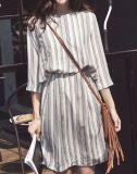La dernière robe à manches courtes à rayures à rayures