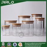 400ml木製のふたのガラス記憶のタケふたが付いている瓶によって乾燥される茶コーヒー米のパスタの記憶の瓶が付いている広い口のホウケイ酸塩ガラスの瓶