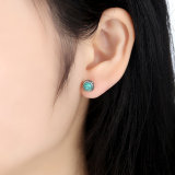 Silver Blooms Earrings December com Aniversário Gems Stone Turquoise Stud Earrings