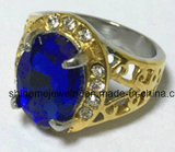 Fundición de joyería de acero inoxidable con piedra amarilla Moda dedo anular