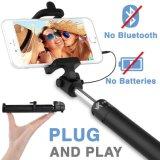 Cable de bolsillo atado con alambre Monopod del obturador del palillo alejado incorporado de Selfie compatible con todos los teléfonos elegantes