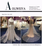 Uma linha vestidos de casamento longos de Tulle da luva da garganta elevada com correia de cristal