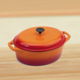 エナメルの魚のための楕円形の鋳鉄のカセロールの鍋
