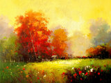 Douane het Afgedrukte Schilderen van de Kunst van het Landschap van de Bloem van de Pioen van het Type Mooie