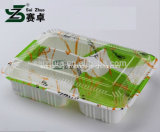 Casella di pranzo di plastica a gettare forte ecologica di goffratura dei 4 scompartimenti