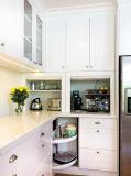 Het Meubilair van de Keuken van de Melamine van de Keukenkast van de Vorm van L van de flat