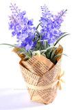 Artificial flor púrpura lavanda ramo para el hogar y la boda decoraciones en bolsa de papel