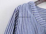 Longue chemise de coton rayé de femmes