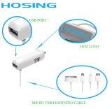 5V 2.1A определяют USB с кабелем для Andriod и заряжателем автомобиля iPhone для мобильного телефона