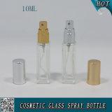 frasco de vidro desobstruído quadrado do pulverizador da bomba do perfume 10ml