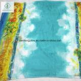 Aquarell-Übergang gedruckter Strand-Schal L Form-Dame Silk Scarf