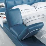 زرقاء لون جلد سرير لأنّ غرفة نوم إستعمال ([فب8152])