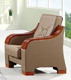 Sofa classique populaire de cuir de bureau de présidence d'hôtel de loisirs chauds de vente avec l'accoudoir en bois 318#