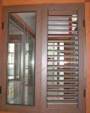 Finestra di alluminio delle feritoie della venatura del legno con gli otturatori registrabili (BHA-CW07)