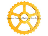 노란 페인트를 가진 농업 롤러 또는 트롤리 또는 트롤리 바퀴