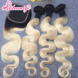 Pelo humano de Remy del pelo del encierro del cordón del color de Ombre