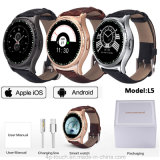 Relógio esperto de Bluetooth da faixa de couro com o monitor da frequência cardíaca (L5)