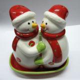 Dispositif trembleur de sel en céramique peint à la main et de poivre de vaisselle de cuisine de Noël réglé (GW1259)