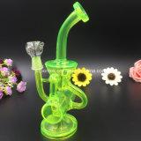 Tubulação de fumo de vidro da água do reciclador da cor verde de Bontek