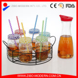 Juice di vetro Bottles Mason Jar Glass con Lid e Straw & Metal Rack
