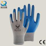 13G Nitrile White Polyester Shell, Blue Nitrile Coated, Gants de Travail (N7005)