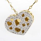 Doppi monili d'argento della collana dei pendenti della pietra 925 di colore rosa del cuore