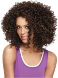 Breve Curly Wig per le donne di colore Wavy Curl Kanekalon Brown Natural U Parte Wig Synthetic Wigs dell'afroamericano