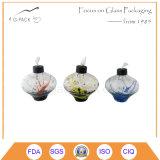 Lâmpada de petróleo de vidro colorida em vários projetos